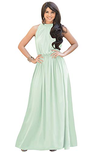 KOH KOH Womens Long Sexy Sleeveless Bridesmaid Halter Neck Wedding Party Guest Summer Flowy Casual Brides Formal Evening A-line Gown Gowns Maxi Dress Dresses, Light Pale Green M 8-10