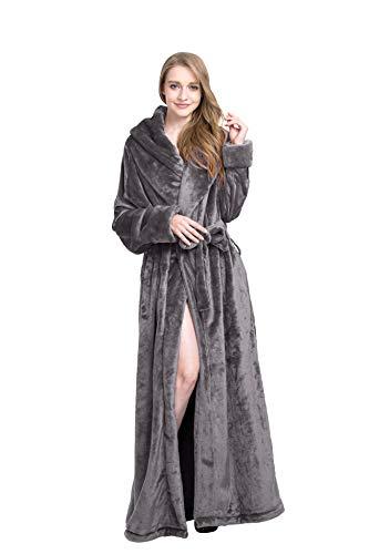 - Find Dress Extra Long Plush Fleece Robe Thicken Soft Warm Bathrobe Grey-M