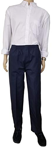 J & E Talit Men's Easy Dressing Full Elastic Waist Twill Casual Pull on Pant with Mock Fly (Large, Navy)
