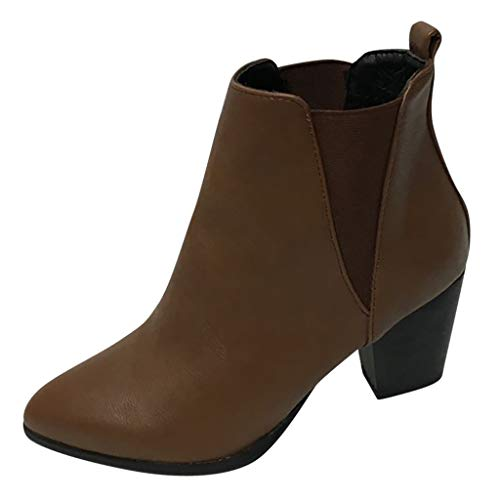 ◕‿◕Watere◕‿◕ Women's Short Wedges Bare Boots, Retro Thick High Heel Zipper Single Boot Large Size Ankle Boots Brown ()