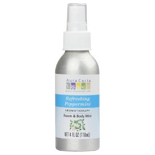 Aura Cacia Aromatherapy Room & Body Mist, Refreshing Peppermint 4 fl oz (118 ml)(2 PK)