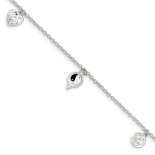 925 Sterling Silver Hearts Peace Sign 8 Inch 1 Adjustable Chain Plus Size Extender Anklet Ankle Beach Bracelet Fine Jewelry Gifts For Women For Her