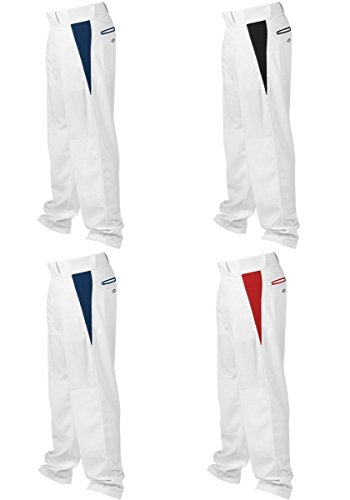 Rawlings Youth Relaxed Fit V-Notch Insert Baseball Pant, White with Black Insert, Youth Small
