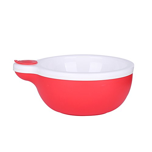 Kidsmile Baby Food Keep Warming Feeding Bowl, Toddler Feeding Containers with Water Chamber and Heat Preservation Layer, Pour in Hot Water Funnel to Keep Food Warm or Cold in Home or Travel, Red