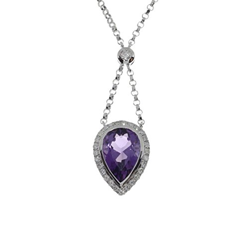 14k Gold Large Amethyst Pendant - 14k White Gold Large 10X7mm Pear Amethyst Pendant with 18