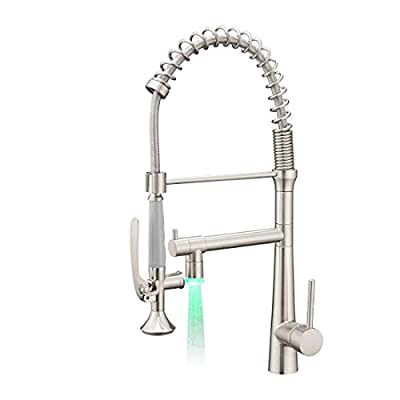 Aimadi Pull Down Kitchen Faucet with Sprayer - Commercial Single Handle Stainless Steel Brushed Nickel Kitchen Sink Faucet with LED Light