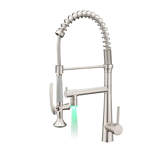 Aimadi Pull Down Kitchen Faucet with Sprayer,Commercial Single Handle Stainless Steel Brushed Nickel Kitchen Sink Faucet with LED Light