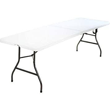 8 Foot Long Center Plastic Folding DJ Banquet Party Wedding Table, White  With Center