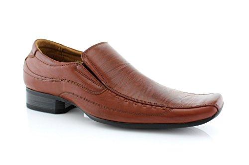 Delli Aldo Mens 18675 Classic Slip On Loafers Squared Toe Dress Shoes
