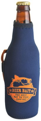 Hat Trick Openers Bottle Cooly Combo with Attached Beer Bait Logo, Blue Neoprene For Sale