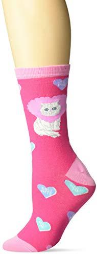 K. Bell Women's Playful Novelty Fashion Crew Socks, Pink (Valentine Cat), Shoe Size: 4-10