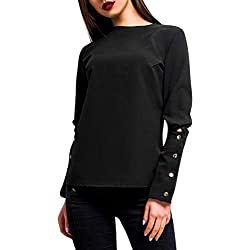 Sunhusing Women's Solid Color Casual Round Neck Pullover Top Multi-Button Buckle Long Sleeve Shirt
