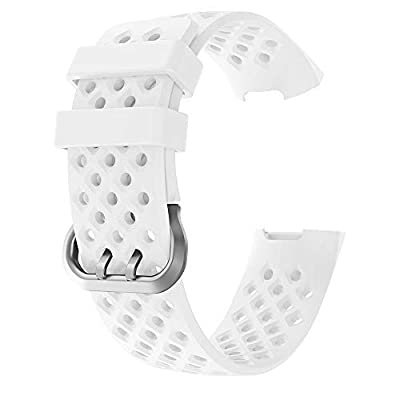for Fitbit Charge 3 Bands, Fineser Soft Sports Wristband Breathable Silicone Strap Compatible Fitbit Charge 3, Large Small (L, White): Toys & Games