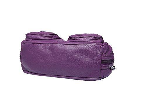 Washed Leather Top Handbag Satchel Purple Closure Women Zip Tote PU Hobo Handle kiss Bags Angel qnvE88