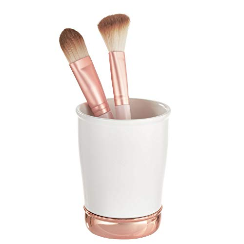 InterDesign York Ceramic and Metal Tumbler, Makeup Brush Toothbrush Holder Cup for Bathroom, Countertop, Desk, Dorm, College, and Vanity, 3.25