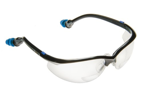 Hard Coated Polycarbonate Lenses (PlugsSafety PSGLS02BF-PP Polycarbonate Bifocal 2.0 Hard Coated Safety Glasses with PermaPlug Earplugs, Clear Lens, Black Frame)