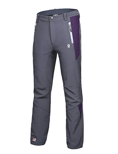 Little Donkey Andy Women's Winter Hiking Ski Snowboarding Pants, Softshell Pants, Fleece Lined and Water Repellant Grey/Purple Size L