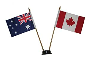 CANADA & AUSTRALIA Small 15 X 10 Cm Mini Double Country Stick Flag Banner with BLACK STAND on a 10 Inch Plastic Pole .. New