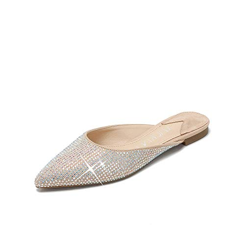 eee4208b62a Mackin J 327-1 Women's Classic Pointed Toe Flat Shoes with Rhinestones  Dress Sandal (10, Beige)