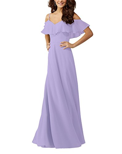 Shoulder Chiffon Lafee Bridesmaid Dresses Gown Ruffles Bridal Women's Lavender Long Off Evening qB1Ftw