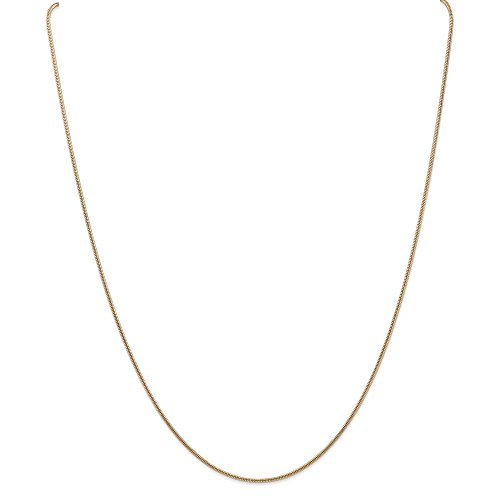 (1.3mm 14k Yellow Gold Solid Round Snake Chain Necklace, 20 Inch)