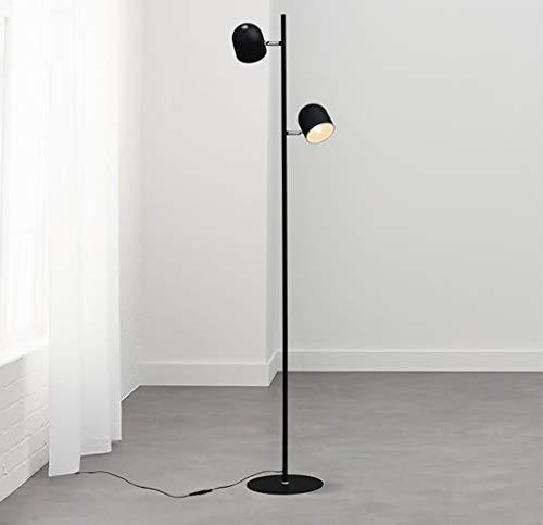 YWLDD Floor Lamps Floor lamp Two Metal lampshade Vertical Living Room Floor lamp Modern Minimalist Creative Hotel Floor lamp (Color : Black)