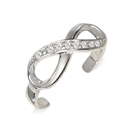 (JewelryWeb Solid 925 Sterling Silver Adjustable Infinity Ribbon Cubic Zirconia Toe Ring (6mmx15mm))