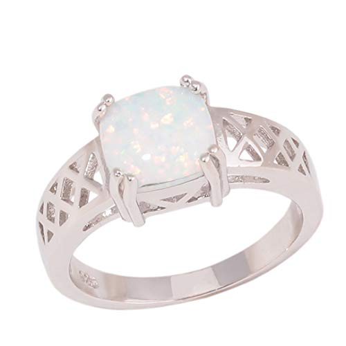 MARRLY.H Created White Fire Opal Silver Plated Sell Women Jewelry Ring White 8