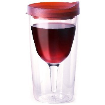 Vino2Go Double Wall Insulated Acrylic Wine Tumbler with Merlot Slide Top Lids 10 oz.]()
