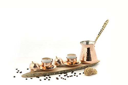 Dexart Handmade Copper Turkish Coffee Set with Turkish Coffee Gift