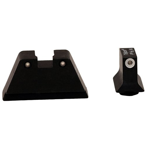 (Trijicon Suppressor Night Sight Set, White Front/Black Rear with Green Lamps for Glock 10mm/45ACP Models)