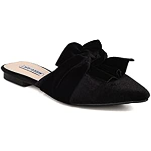 3c59e5c883d4 Women Knotted Flat Mule - Bow Slip On Sandal - Pointy Toe Slide - HK10 By