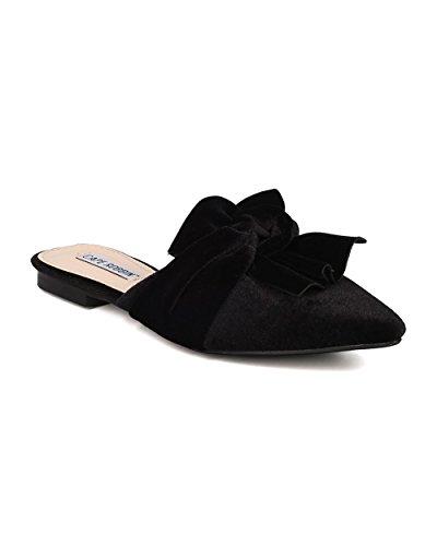 Bow Mule (CAPE ROBBIN Women Knotted Flat Mule - Bow Slip On Sandal - Pointy Toe Slide - HK10 by Black Velvet (Size: 7.5))