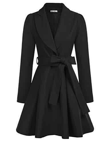 Women's Notch Lapel Coat Long Sleeve a Line Pea Coat with Self Tie Belt
