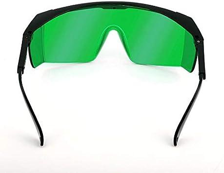 Gafas de seguridad láser para violeta/azul 200-450/800-2000nm Gafas redondas de absorción Gafas protectoras láser Gafas - Marco negro y lente verde