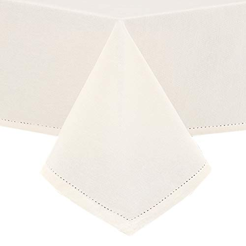 Lintex Classic Hemstitch Fabric Tablecloth - Easy Care Cotton Blend Tablecloths with Hemstitching and Mitered Corners - 70 Inch Round, Ivory