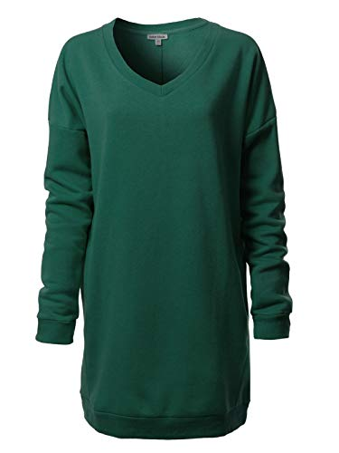 Instar Mode Women's Casual Loose Fit V-Neck Long Sleeves Over-Sized Tunic Sweatshirts,Ihow007 Hunter Green,Small/Medium