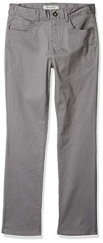 (Calvin Klein Boys Twill Skinny Stretch Sateen Pant, Grey, 16)