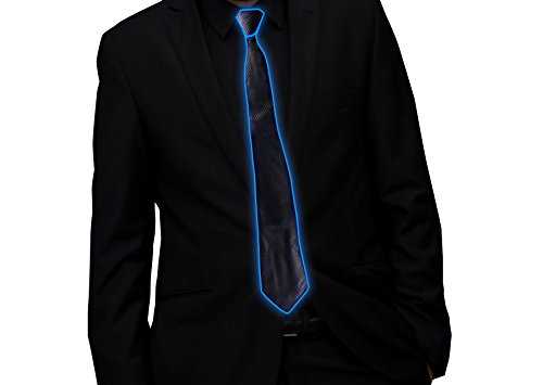 LED Glow Tie - Novelty Light Up El Wire, Nightclub DJ Dance Party Rave Costume Accessory (Blue) (Novelty Mens Tie Clothing)