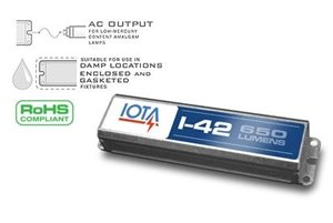 11 Watt Ballast - Iota #I-42-EM-B 120/277 volt Rapid Start Emergency Ballast, 90min illumination, operates (1) 10W-42W, (2) 10W-18W, 10W-42W 4-Pin CFL