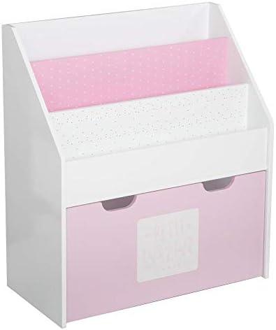 Estantería rosa con contenedor con ruedas