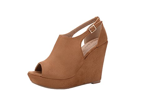 - Mila Lady Lisa 2 Women's Platform Wedges Cutout Side Straps, Peep-Toe Ankle Bootie, Heeled Sandal. CAMEL8
