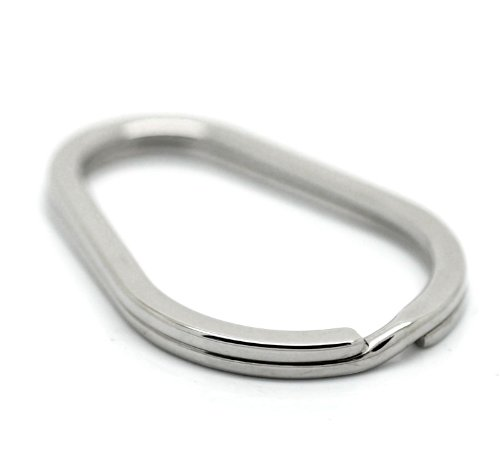 (VALYRIA Stainless Steel Oval Split Rings Keyrings Keychains Keys Holder 4cm x 2.8cm(1 5/8