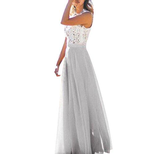 Faldas, Challeng Vestido de fiesta atractivo de la playa de la alta calidad del vestido de fiesta de la playa de la impresión vestido largo de gasa con cintura alta, cintura alta (m, amarillo) gris