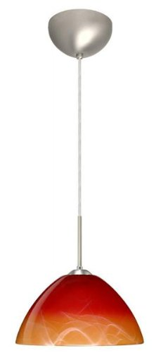 Besa Lighting 1JC-4201SL-LED-BR 1X6W GU24 Tessa LED Pendant with Solare Glass, Bronze Finish