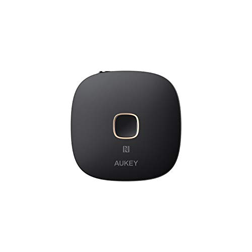 AUKEY Bluetooth Receiver V4.1 NFC-Enabled Wireless Audio Music Adapter with Hands-Free Calling for Home and Car Audio System (Aukey Bluetooth Adapter)