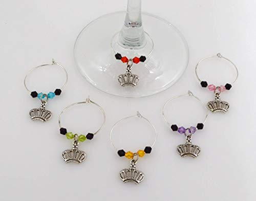 Crown Wine Glass Charms - 6 Piece Cocktail Drink Charm Set in Black Velour Gift Pouch ()