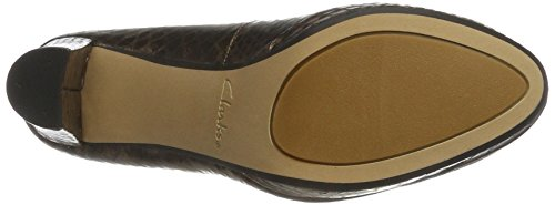 Clarks Kendra Snake Toe Bronze Closed Pumps Leather Sienna Brown Women''s r58qBr
