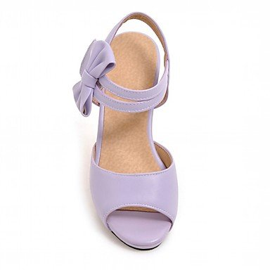 LvYuan Mujer Sandalias Semicuero PU Verano Otoño Paseo Pajarita Tacón Robusto Negro Beige Morado Rosa 2'5 - 4'5 cms Purple