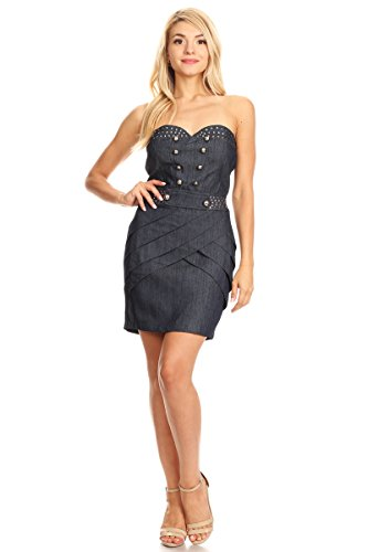 Denim Strapless Sweetheart Mini Dress with Open Back (Small, Navy)